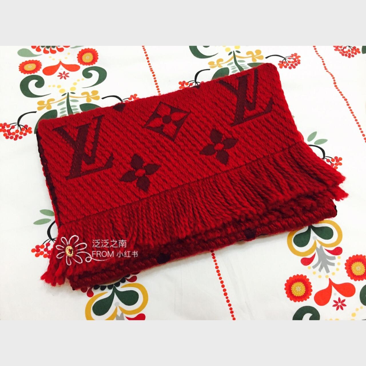 lv 羊毛红色围巾