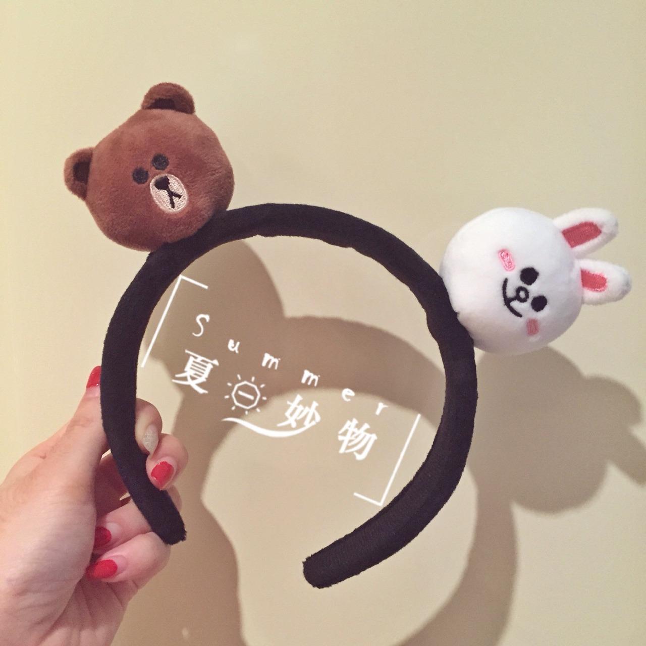 韩国line 发箍,[萌]毛绒发箍布朗熊莎莉鸡可妮兔.