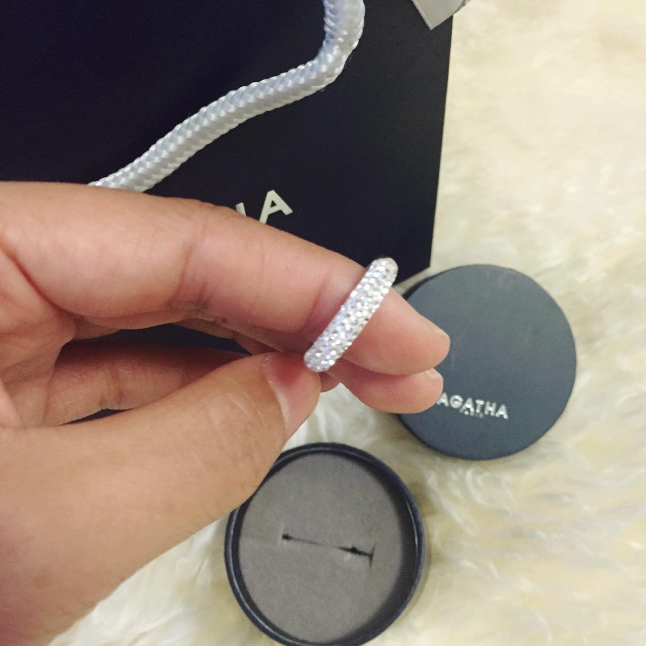 agatha陶瓷水晶银戒指