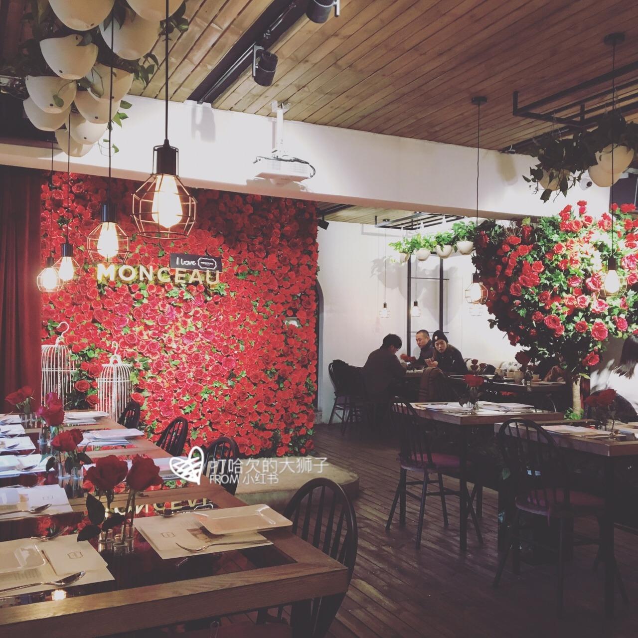 monceau花店&餐厅_玫瑰花背景墙_apm monaco耳钉_#monceau# #餐厅