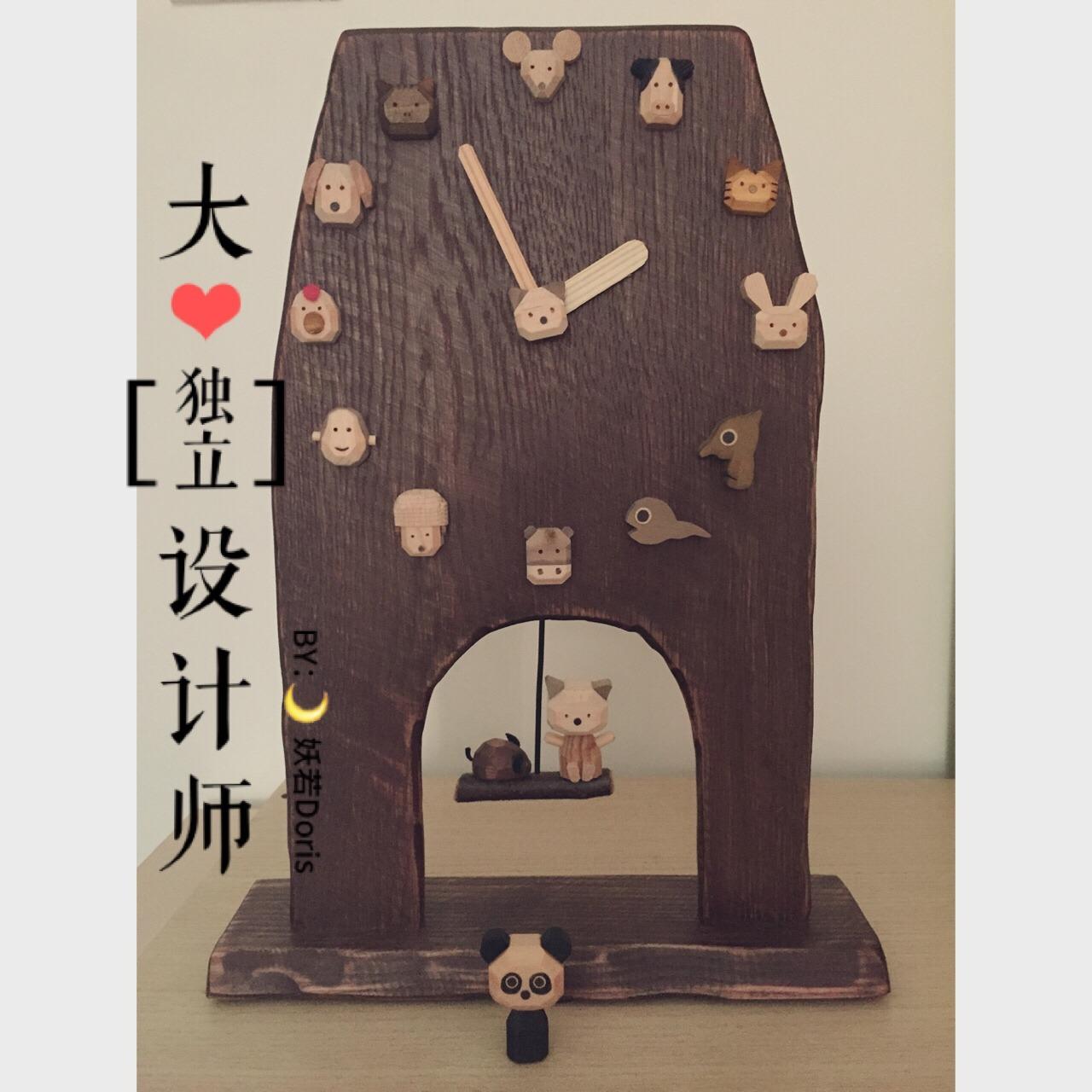 全是木头做的小动物,钥匙链,门牌,印章,钟表,各种节气主题的摆件完全