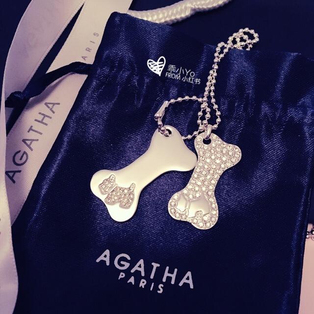 agatha家经典标志狗狗[萌] 长链由两个可爱的狗骨头组成