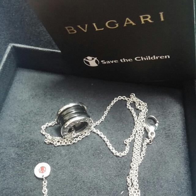 寶格麗慈善款純銀黑陶瓷螺紋項鏈圖片