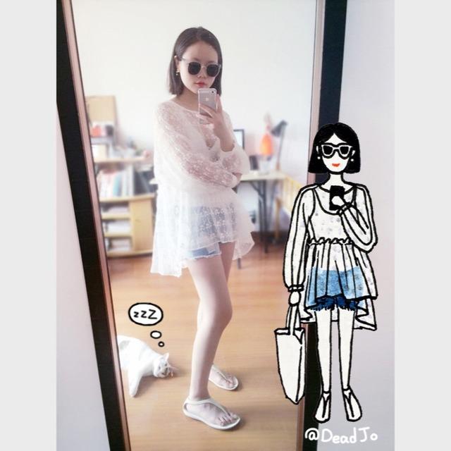 deadjo手绘搭配# 蕾丝面料罩衫韩国代购