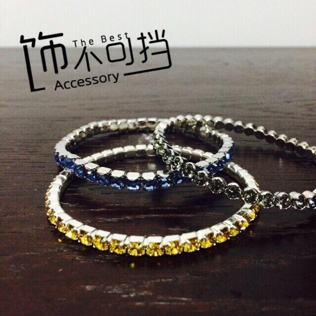 swarovski价格_说好的swarovski水晶手链_价格_怎么样_swarovski蓝色及灰色弹力水晶