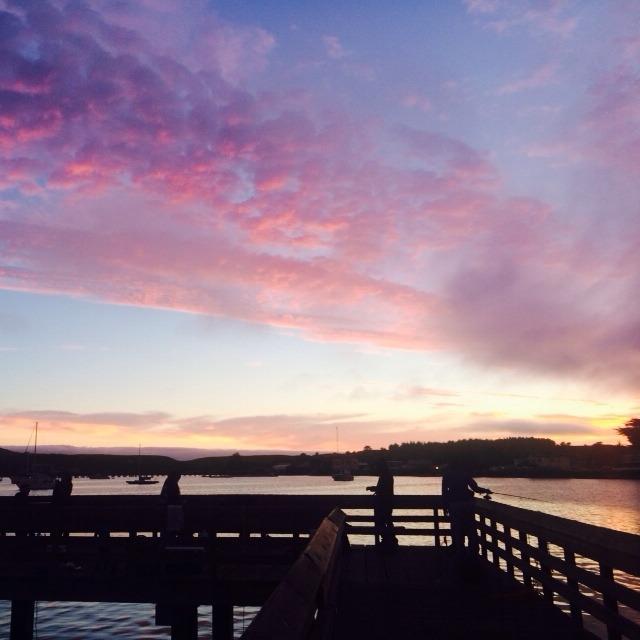 美国加州半月湾码头 傍晚粉色蓝色的天