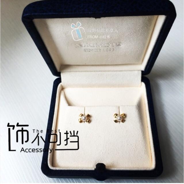 mikimoto的黄金蝴蝶结珍珠耳钉
