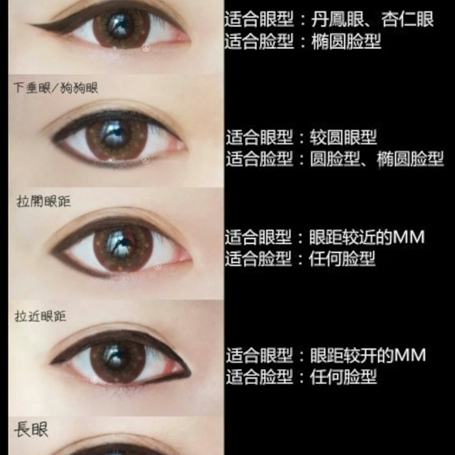 【六种眼线纠正眼型】①上扬眼/猫眼②下垂眼/狗狗眼③拉开眼距④拉近