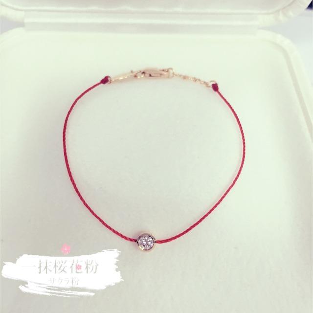 宝宝红绳编金手镯图